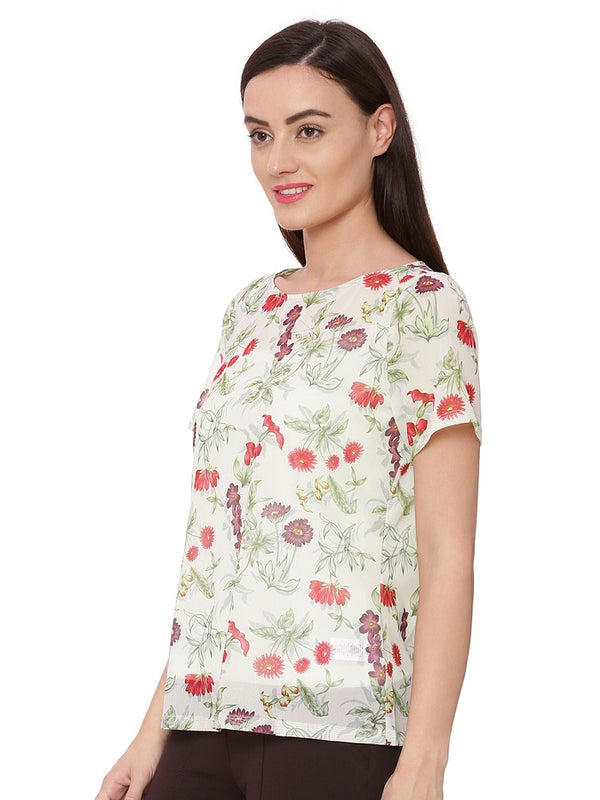 Off white floral print top