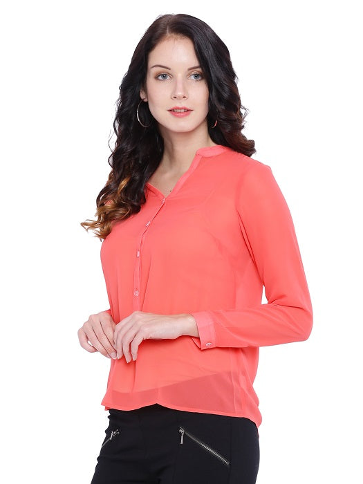 Orange Chiffon Top