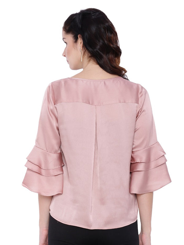 Peach Frill Sleeve Blouse