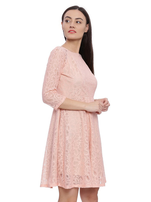 Peach Lace Party Dress