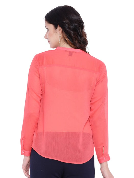 Peach Mandarin Collar Top