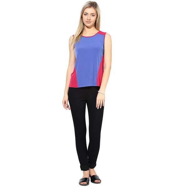 Pink & Blue Colour Sleeveless Top