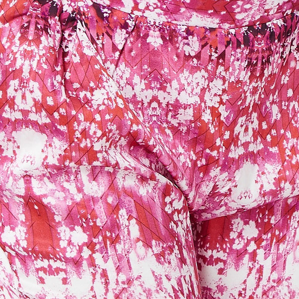 Pink Printed Silk Touch Trouser