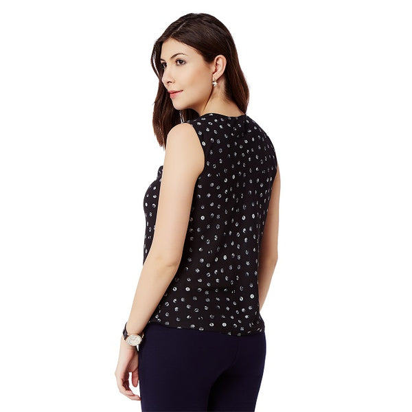 Polka Dot Cowl neck top