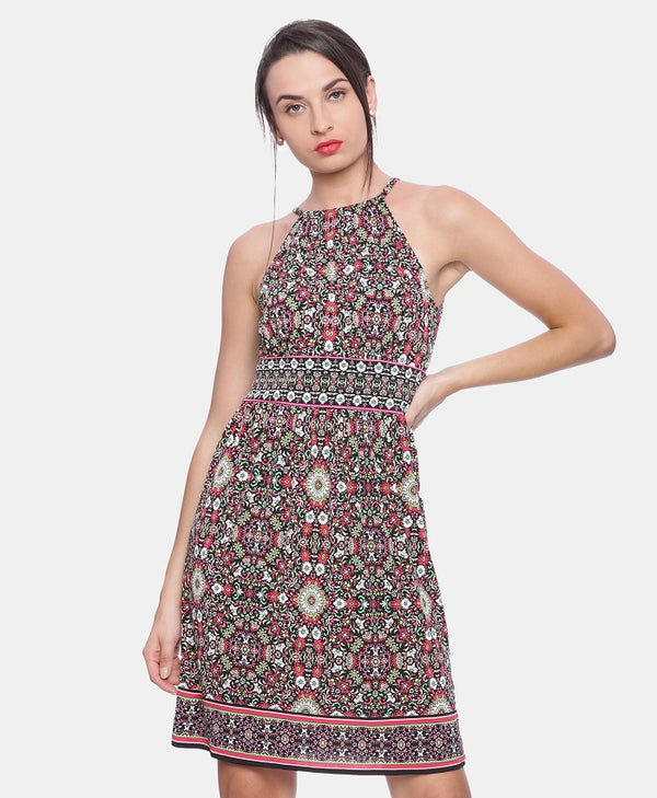 Printed Fit and Flare Sleeveless Dress