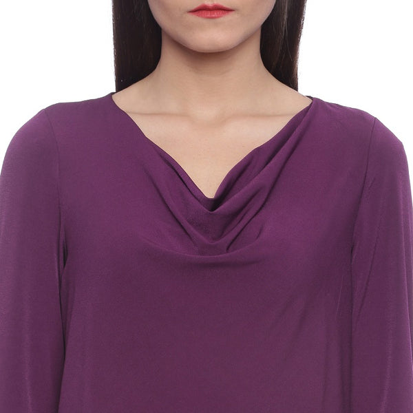 Purple Cowl Neck Top