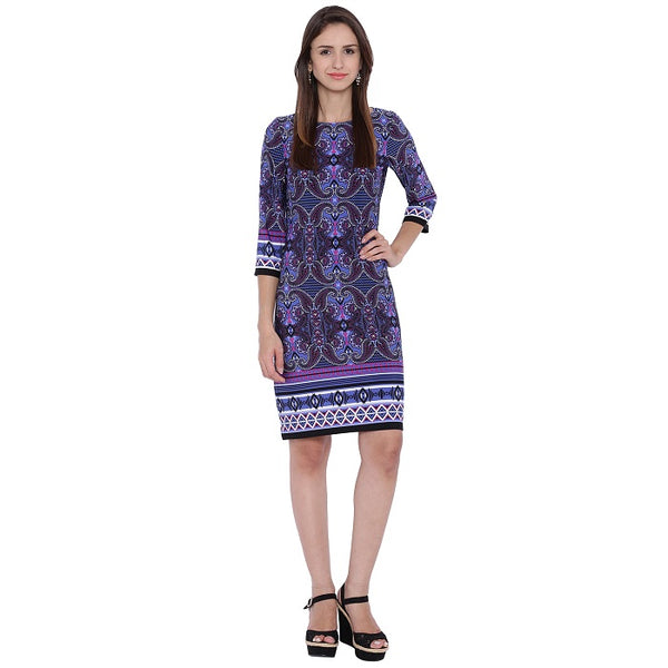 Purple Printed Sheath Dress