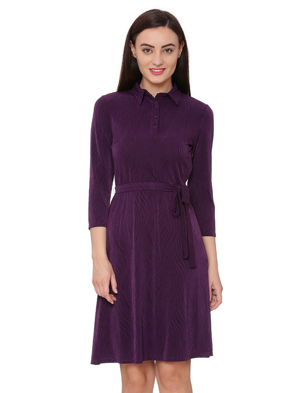 Aubergine Blossom Fit & Flare Dress