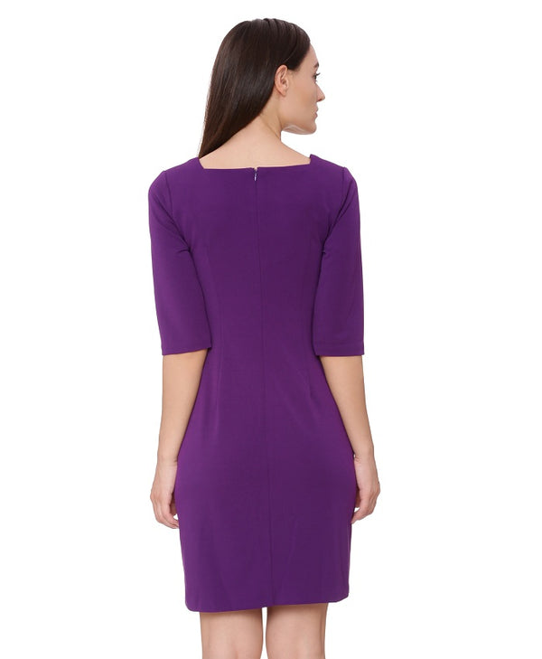Purple Solid A Line Dress
