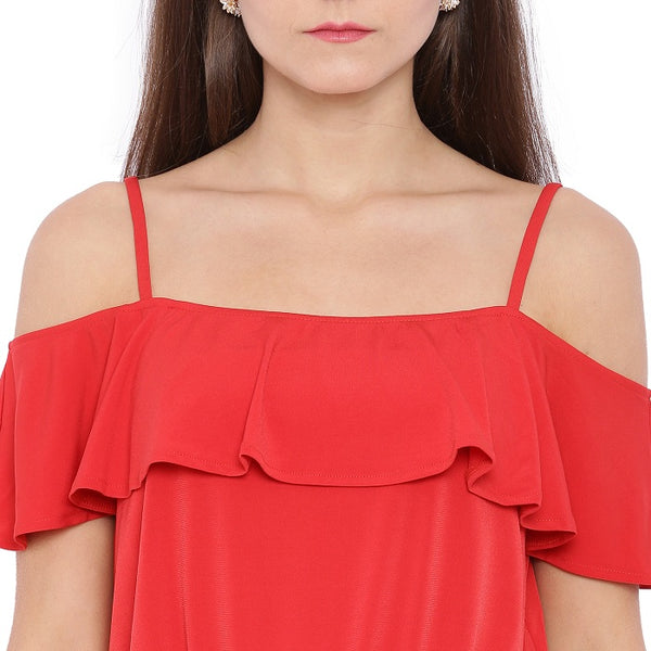 Red Cold Shoulder Dress