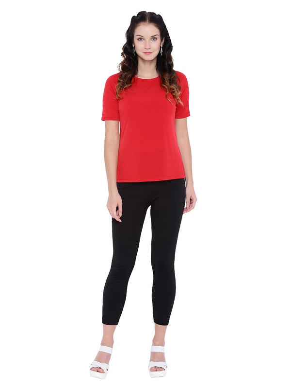Red Jewel Neck Top