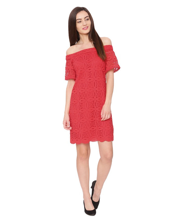 Red Off Shoulder Lace Dress