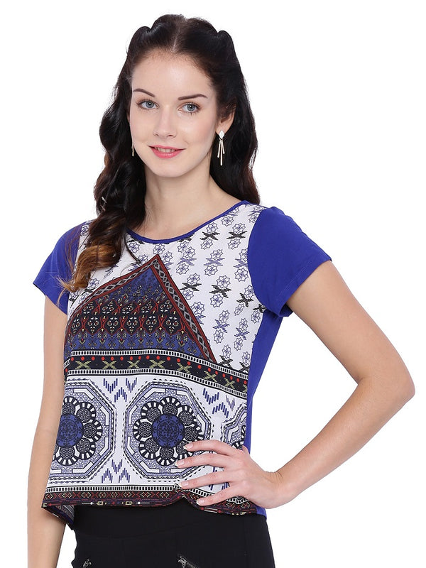 Scoop Neck Blue Printed Top