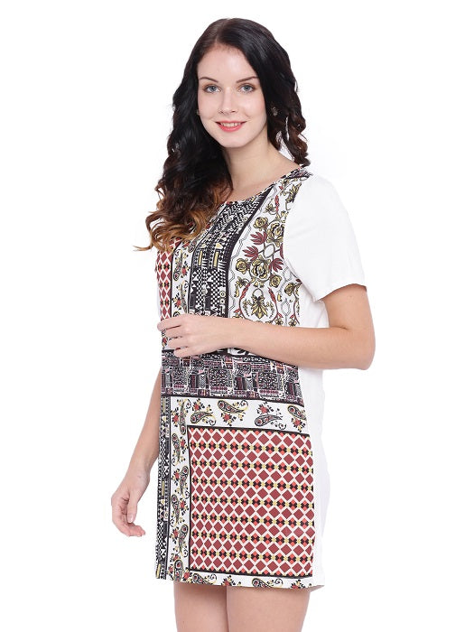 Short Sleeves White Printed Tunic