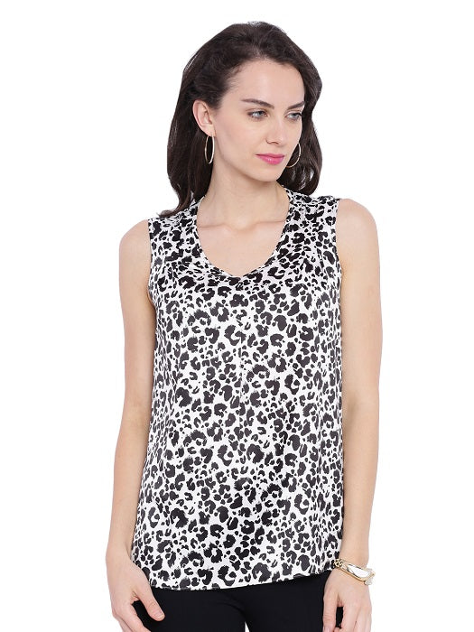 Sleeveless Animal Printed Top
