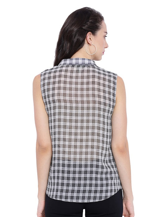 Sleeveless Checkered Top