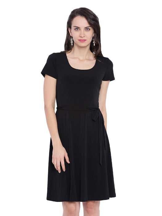 Solid Black A-Line Dress