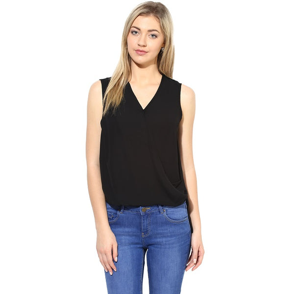 Solid Black V Neck Top