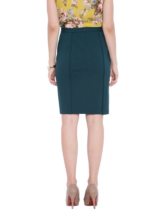 Solid Bottle Green Pencil Skirt