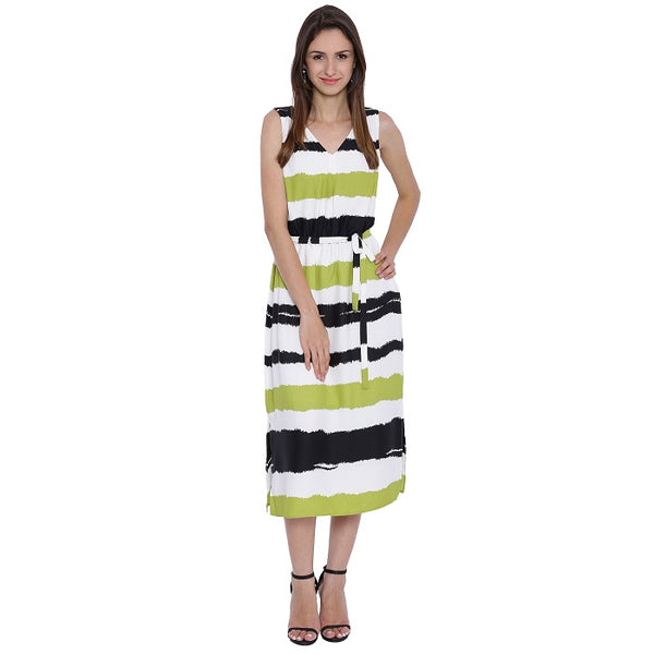 Striped Tea Length Dress