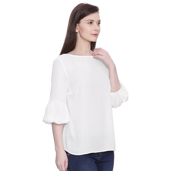 White Balloon Sleeves Top