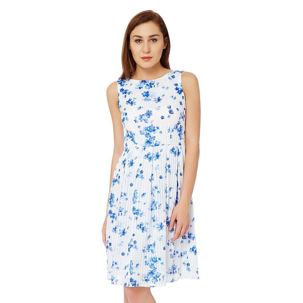 White Floral Casual Dress