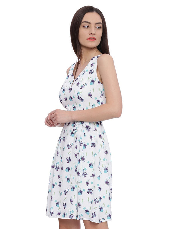 White Floral Print Casual Dress
