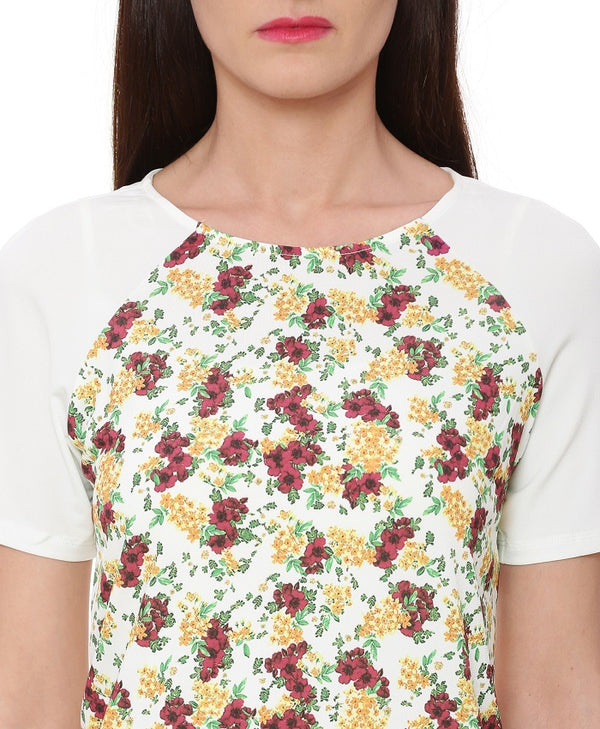 White Floral Print Top