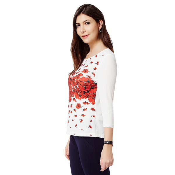 White Front Print Floral Top