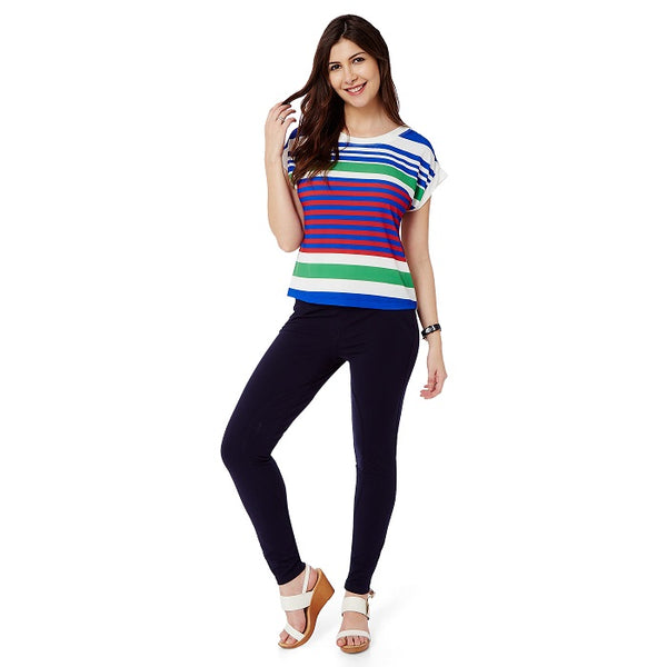 White Multicolor Stripe Top