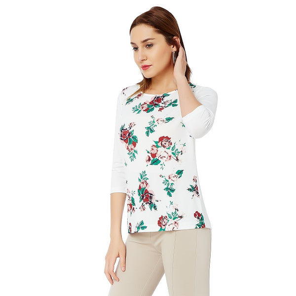 White Rose Print Top