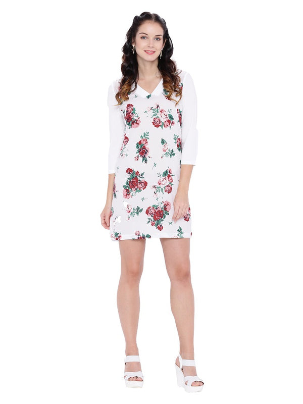 White Rose Print Tunic