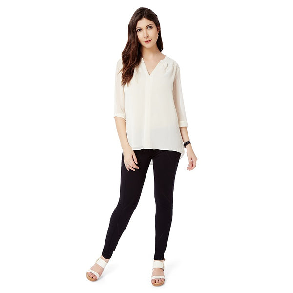White Solid V Neck Georgette TOP
