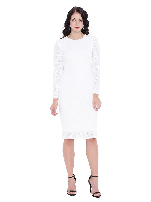 White Woven Knee Length Dress