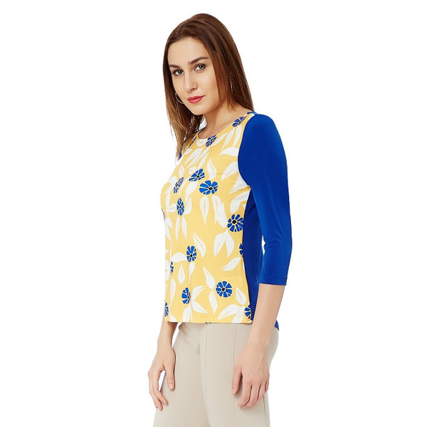 Yellow Blue Print Top