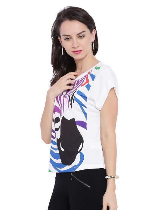 Zebra Printed White Top