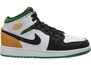 Air Jordan 1 Mid SE White Laser Orange Lucky Green