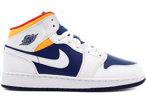Air Jordan 1 Mid SE White Laser Orange Deep Royal Blue (GS)