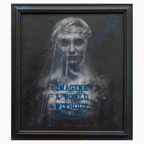 Plastic Bride - 21x24 - Mixed Media - Vintage Frame