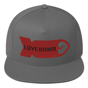 LOVE BOMB - Embroidered Flat Bill Cap