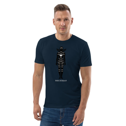 BEE HUMAN (Critical Bee) by Acool55 LTD Edition - Unisex organic cotton t-shirt Dark Blue