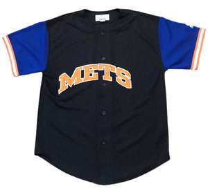 Vintage 90s Starter MLB New York Mets Black Orange blue baseball Jersey  M