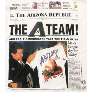 NWT Vintage 1995 Arizona Diamondbacks Take The Field Newspaper Single stitch T-shirt Size Adult L