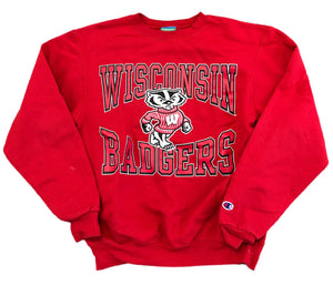 Vintage Champion WISCONSIN BADGERS NCAA CREWNECK Sweatshirt Mens Size S Madison