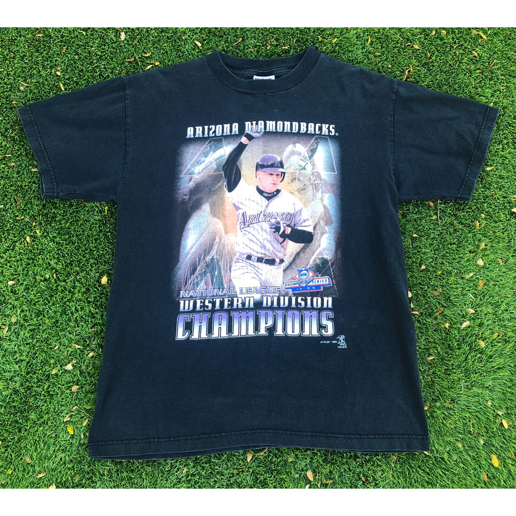 VINTAGE 1999 MATT WILLIAMS ARIZONA DIAMONDBACKS WESTERN DIVISION CHAMPIONS MLB BASEBALL TEE T-SHIRT