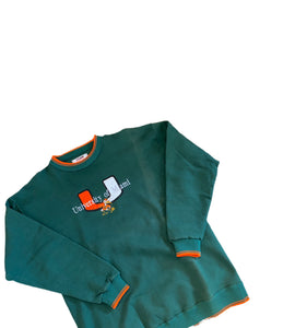 Vintage Stitched Miami Hurricanes Graphic Crewneck Sweatshirt Sweater L Large