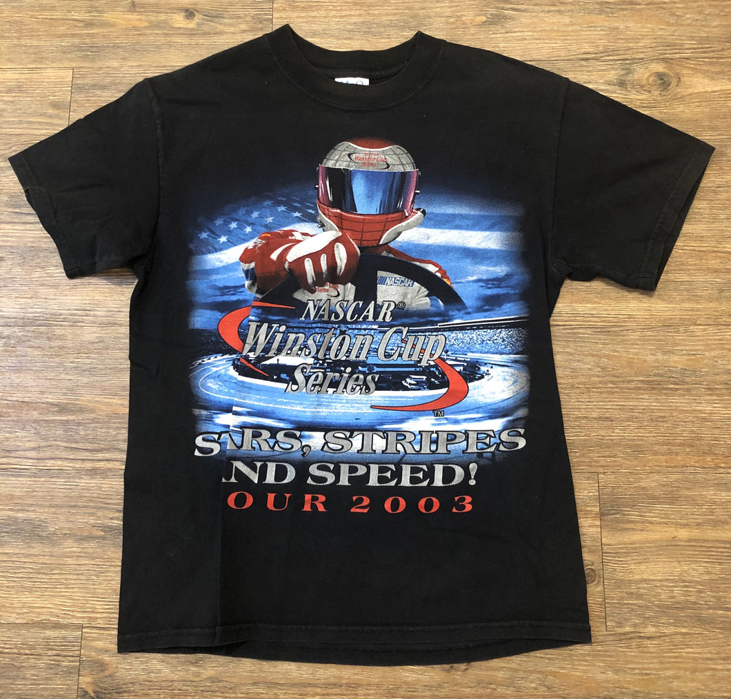 NASCAR Winston Cup Series Mens T-Shirt Black M Stars Stripes and Speed 2003