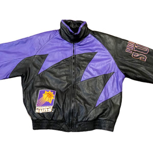 Vintage Rare NBA Phoenix Suns Shark Tooth Logo Athletic Leather Jacket XL EXCELLENT Condition