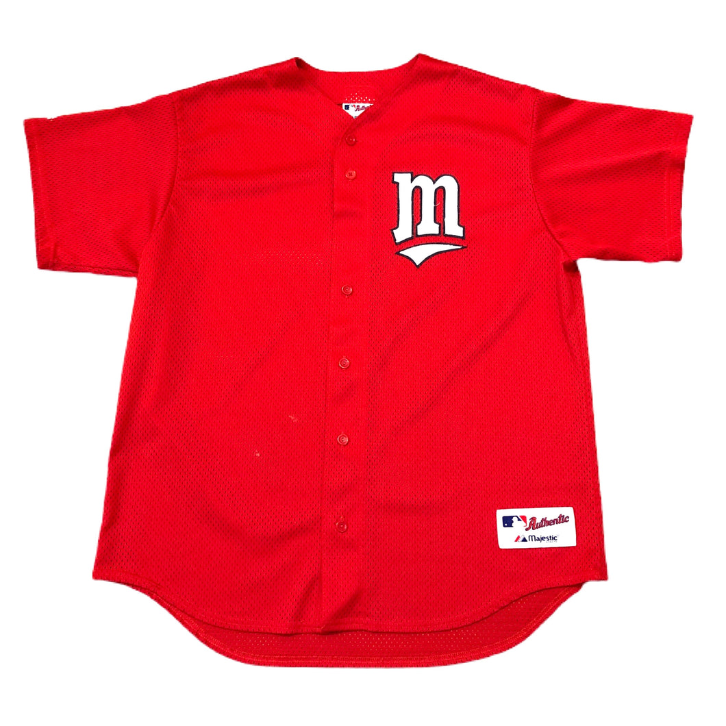 Minnesota Twins MLB Baseball Blank Jersey Mens Size XL Red Majestic Minneapolis