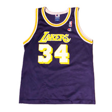 Load image into Gallery viewer, Vintage Lakers Shaquille Oneal Champion Jersey Kids size Large 14-16 Purple